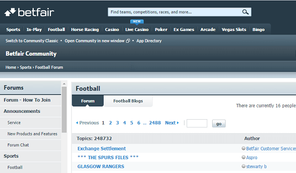 Betfair Football Forum