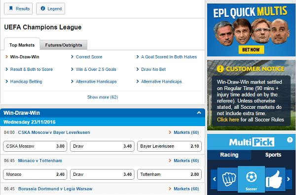 Championrs League Odds 2017