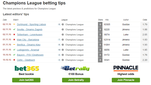 Champions League Betting Tips Tonight