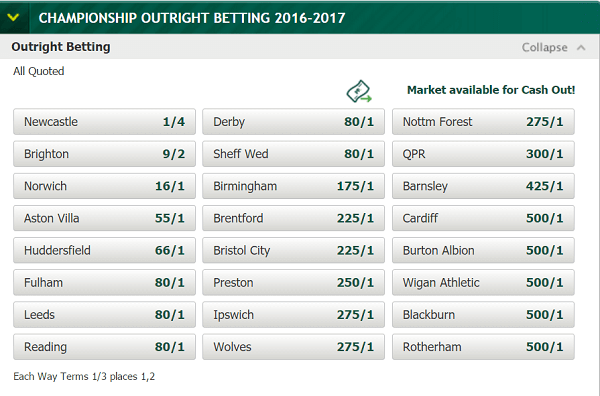Championship Odds Promotion