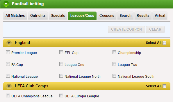 Coral Football Odds Checker