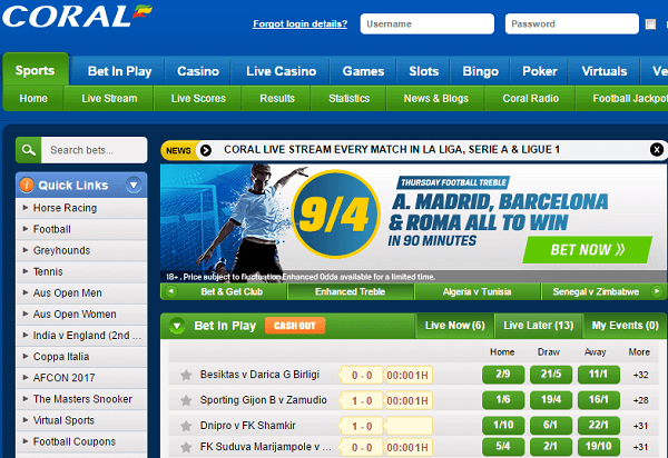 Coral Football Odds