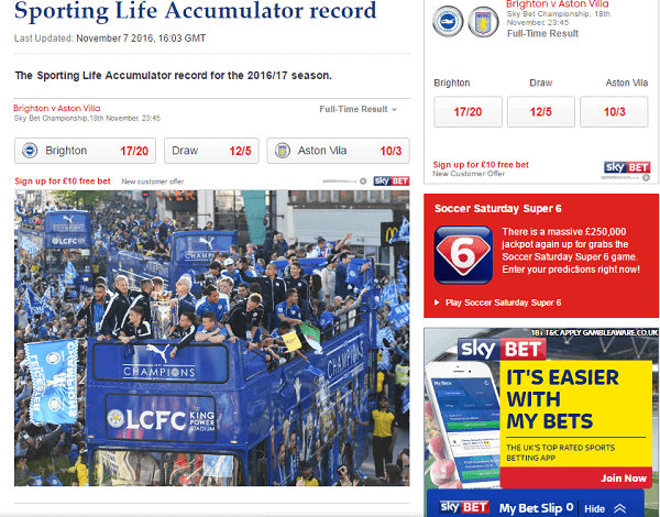 Football Betting Tips Accumulator Record