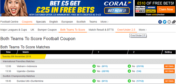 Tips for today's football coupons