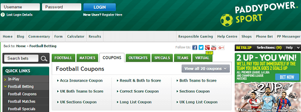 Paddy Power Football Coupon