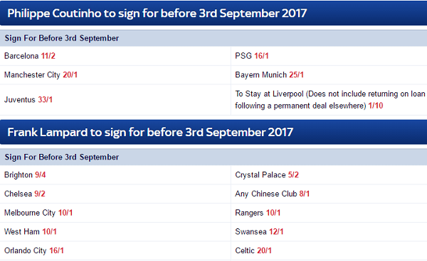 Skybet Transfer Specials Football